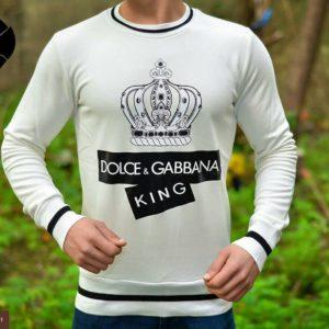Приобрести в подарок мужской джемпер Gabbana & Dolce белого цвета больших размеров оптом Украина