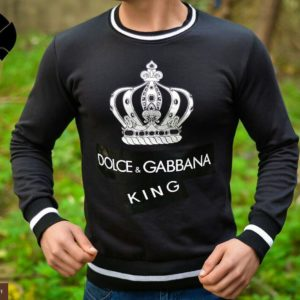 Купить дешево мужской джемпер Dolce & Gabbana черного цвета батал недорого