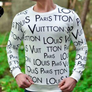 Приобрести в подарок мужской джемпер Vuitton Louis белого цвета больших размеров оптом Украина
