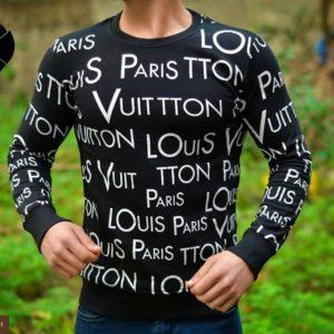 Купить дешево мужской джемпер Louis Vuitton черного цвета батал недорого