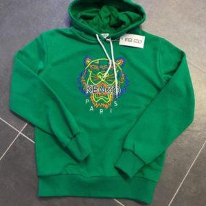 Купить дешево мужской худи с вышивкой тигра Kenzo зеленого цвета батал недорого