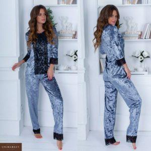 Заказать дешево женскую бархатную пижаму с кружевом кофта + брюки серого цвета недорого
