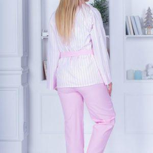 Приобрести в интернет-магазине женскую пижаму cатиновую тройка: рубашка + брюки с поясом и топ кружевной розового цвета дешево
