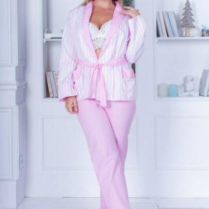 Заказать в подарок женскую cатиновую пижаму тройка: брюки + рубашка с поясом и кружевной топ розового цвета оптом Украина