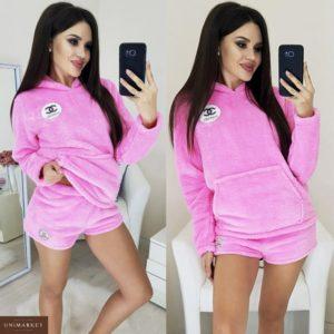 Заказать в подарок женскую пижаму кофта и шорты из пушистой махры розового цвета оптом Украина