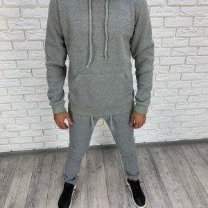 Купить в интернет-магазине спортивный мужской костюм с капюшоном цвета меланж размеров больших дешево