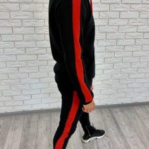 Заказать недорого мужской спортивный с лампасами костюм и капюшоном черно-красного цвета батал в подарок
