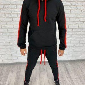 Купить в интернет-магазине мужской костюм с лампасами и капюшоном спортивный цвета черно-красного размеров больших дешево