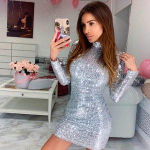 Приобрести женское платье из пайетки с открытой спиной на подкладке трикотажной серебряного цвета в Украине