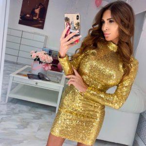 Купить недорого женское платье с открытой спиной из пайетки на трикотажной подкладке золотого цвета в подарок