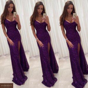 Приобрести в интернет-магазине женское платье длинное вечернее с разрезом высоким и декольте глубоким сиреневого цвета дешево