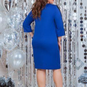Заказать в подарок женское прямое платье из костюмки с руковом 3/4 цвета электрик размеров больших недорого