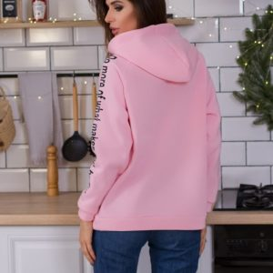 Приобрести в интернет-магазине теплый женский худи-свитшот удлиненный на флисе розового цвета дешево