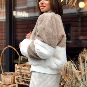 Приобрести в интернет-магазине женскую шубу короткую из эко меха кролика цвета капучино-белого дешево