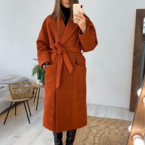 Заказать в подарок женское пальто кашемировое с поясом терракотового цвета оптом Украина