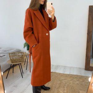 Приобрести в интернет-магазине женское кашемировое пальто с поясом цвета терракотового дешево