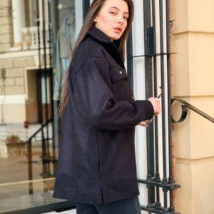 Приобрести в интернет-магазине женское пальто рубашка на флисе из кашемира цвета черного дешево