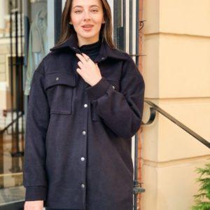 Заказать в подарок женское пальто рубашка из кашемира на флисе черного цвета оптом Украина