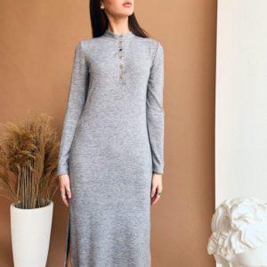 Купить недорого женское платье из трикотажа ангора вязка с пуговицами цвета меланж в подарок