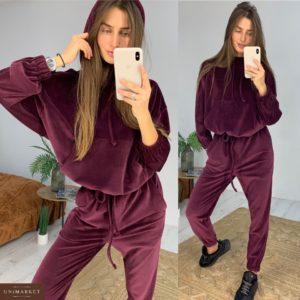 Приобрести в интернет-магазине женский костюм спортивный из велюра на хб трикотаже винного цвета дешево
