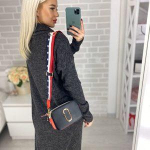 Приобрести в интернет-магазине женское платье длинное с карманами из ангоры графитового цвета дешево