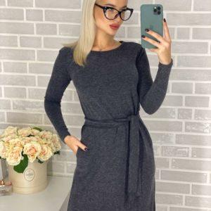 Приобрести в интернет-магазине женское платье длинное с карманами и поясом из ангоры цвета графита дешево