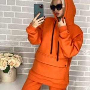 Приобрести женский костюм спортивный с накладным карманом на кнопках оранжевого цвета в Украине