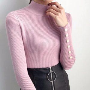 Заказать в подарок женский гольф рубчик стойка с заклепками розового цвета оптом Украина