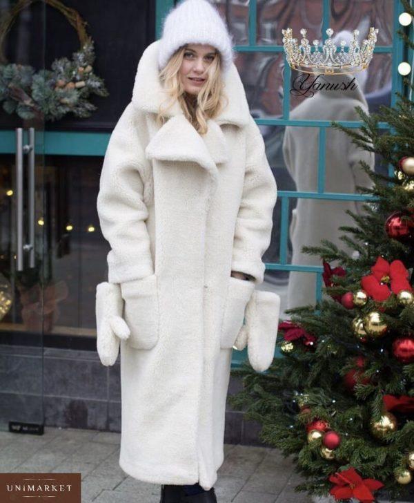 Заказать в интернет-магазине женскую шубу из эко меха овчины с варежками белого цвета батал дешево