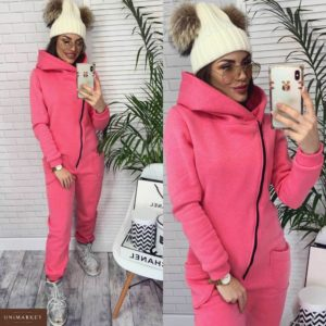 Купить недорого женский из трех нитки комбинезон на флисе розового цвета в подарок