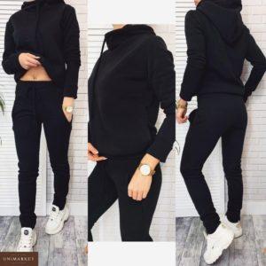 Заказать в подарок женский спортивный костюм на флисе из трехнитки черного цвета оптом Украина