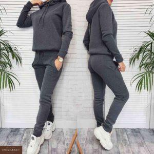 Приобрести в интернет-магазине женский костюм спортивный из трехнитки на флисе темно-серого цвета дешево