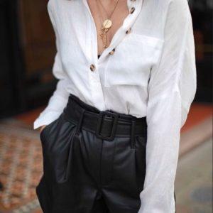 Заказать в подарок женские шорты черные из эко кожи с поясом оптом Украина