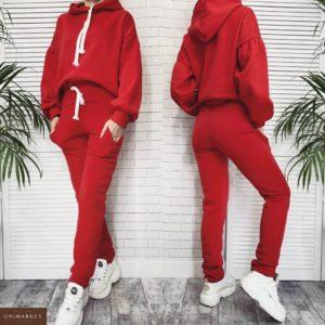 Приобрести в интернет-магазине женский костюм спортивный с белыми завязками из трехнитки на флисе красного цвета дешево
