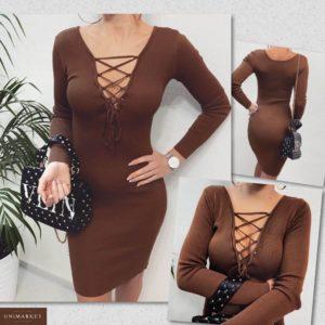 Приобрести в интернет-магазине женское платье вязки машинной на груди со шнуровкой шоколадного цвета дешево