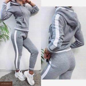 Приобрести в интернет-магазине женский спортивный вязаный костюм серого цвета дешево