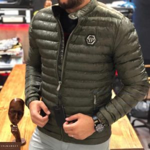 Купить в интернет-магазине мужскую демисезонную Philipp Plein стеганую куртку цвета хаки размеров больших дешево