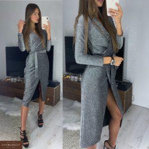 Заказать в подарок женское вечернее платье на запах с поясом черного цвета оптом Украина