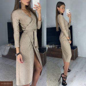 Купить недорого женское вечернее платье с поясом на запах бронзового цвета в подарок