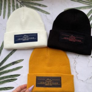 Заказать в подарок женскую шапку бини с логотипом графитового цвета оптом Украина