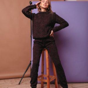 Приобрести в интернет-магазине женский прогулочный теплый костюм из пряжи итальянской сливового цвета дешево