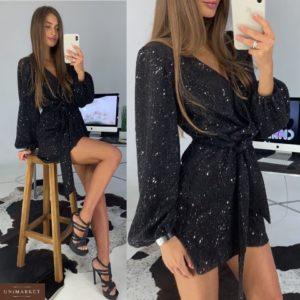 Заказать в подарок женский нарядный комбинезон с шортами и пайеткой черного цвета оптом Украина
