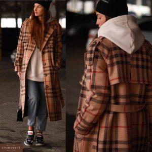 Купить недорого женское длинное пальто из шерсти в клетку с поясом светло-коричневое в клетку в подарок