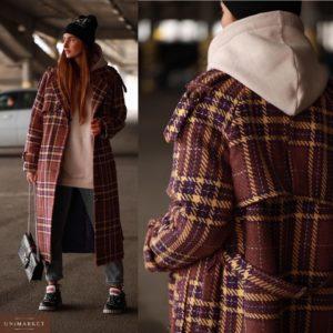 Приобрести в интернет-магазине женское пальто длинное в клетку с поясом из шерсти коричневое в клетку дешево