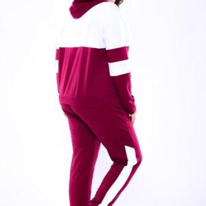 Заказать недорого женский спортивный костюм с капюшоном из двух нитки двухцветный цвета бордово-белого размеров больших дешево