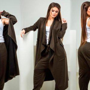 Заказать в подарок женский костюм кардиган + штаны с начесом из петли двухнить цвета хаки оптом Украина