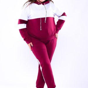 Купить оптом женский спортивный костюм двухцветный из двух нитки с капюшоном бордово-белого цвета батал в подарок