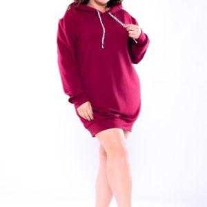 Заказать недорого тунику женскую спортивную из двух нитки с капюшоном цвета бордового размеров больших дешево