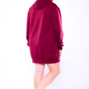 Купить оптом женскую спортивную тунику с капюшоном из двух нитки бордового цвета батал в подарок