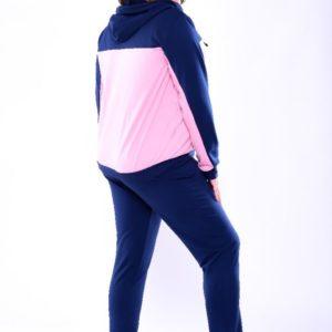 Купить в интернет-магазине женский спортивный батал костюм кофта и брюки из двух нитки цвета синий-пудра недорого